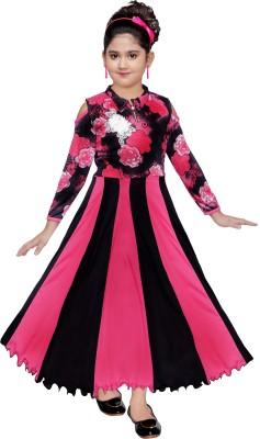 KAARIGARI Girls Maxi/Full Length Party Dress(Black, 3/4 Sleeve)