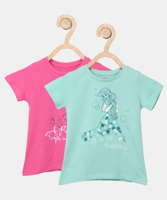 Miss & Chief Girls Printed Cotton Blend T Shirt(Multicolor, Pack of 2) at flipkart