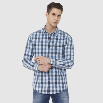 Mufti Men Checkered Casual Blue Shirt at flipkart