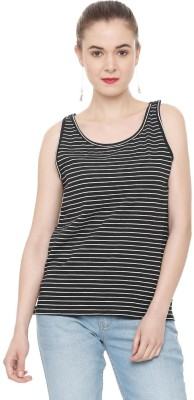 People Casual No Sleeve Striped Women Black Top