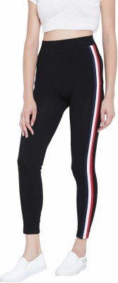 Mad Colors Ankle Length  Legging(Black, Striped)
