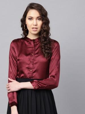 Sassafras Women Solid Casual Maroon Shirt
