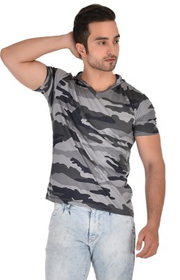 Orzel Printed Men Hooded Neck Grey T-Shirt