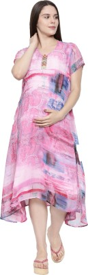 Beyond 9 maternity wear Women Printed Asymmetric Kurta(Pink, Blue)