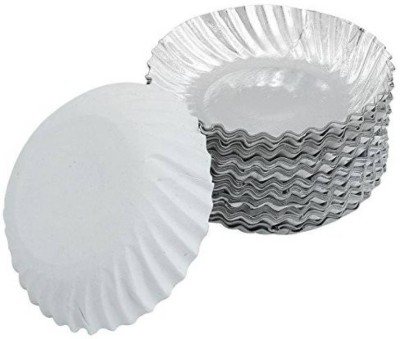 SSD Silver Coated Disposable Paper Plate 8 Inches Pieces Quarter Plate 50 Quarter Plate SSD Plates Trays   Dishes