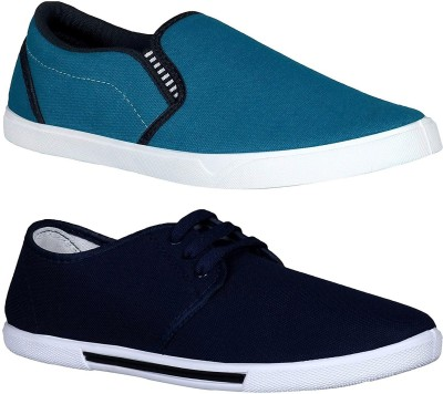 Chevit Combo Pack of 2 Casual Shoes (Loafers Shoes) Slip On Sneakers For Men(Navy, Blue)