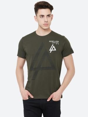 Linkin Park By Free Authority Printed Men Round Neck Green T-Shirt