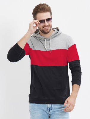 LEWEL Solid Men Hooded Neck Grey, Red, Black T-Shirt