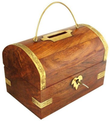 Woodykart Wooden Piggy Bank (woodykart144) Coin Bank(Brown)