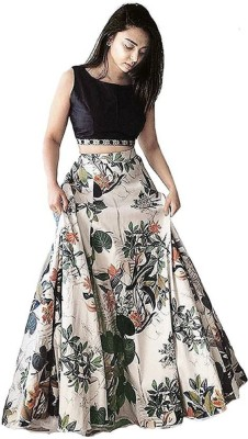 Zingat Fashion Printed Semi Stitched Lehenga Choli(Multicolor)