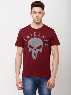 Punisher By Free Authority Printed Men Round Neck Maroon T-Shirt
