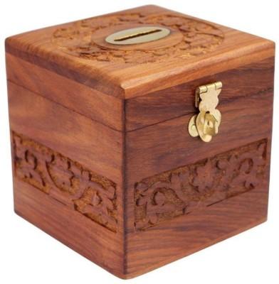 Woodykart Wooden Piggy Bank (woodykart057) Coin Bank(Brown)