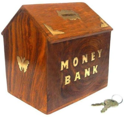 Woodykart Wooden Piggy Bank (woodykart059) Coin Bank(Brown)