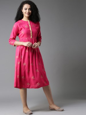 HERE&NOW Women A-line Pink Dress at flipkart