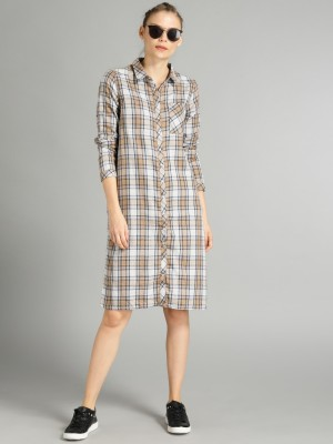 Roadster Women Shirt Beige Dress at flipkart