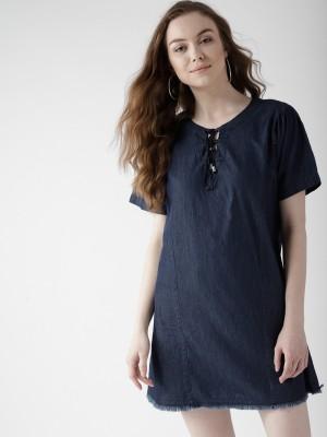 Mast & Harbour Women A-line Dark Blue Dress at flipkart