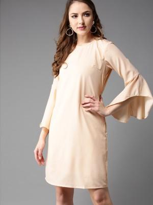 Moda Rapido Women Sheath Beige Dress