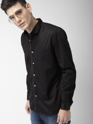 Mast & Harbour Men Solid Casual Black Shirt at flipkart
