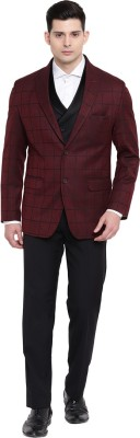 Suitsmith 3-Piece Stylish Checkered Suit for Men, Wine & Black 3 Pc Suit Checkered Men Suit at flipkart