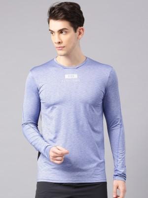 HRX by Hrithik Roshan Solid Men Round Neck Blue T-Shirt at flipkart