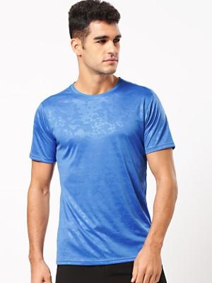 ether Self Design Men Round Neck Blue T-Shirt at flipkart