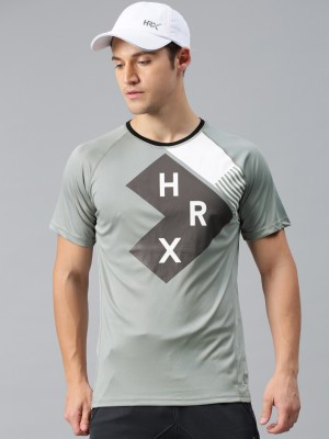 HRX by Hrithik Roshan Printed Men Round Neck Grey T-Shirt at flipkart