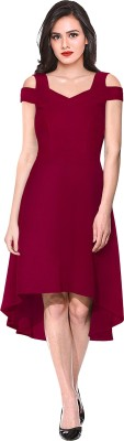 ILLI LONDON Women High Low Maroon Dress