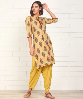 Anmi Printed Women Straight Kurta(Beige) at flipkart