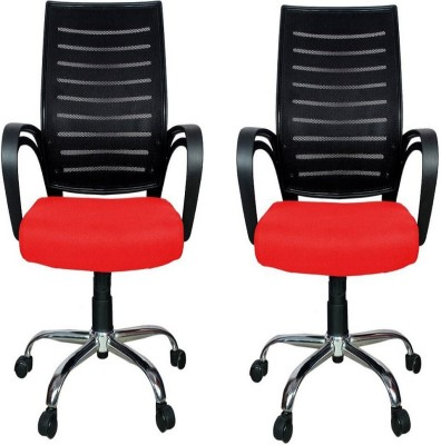 RAJPURA Fabric Office Executive Chair(Red, Set of 2)