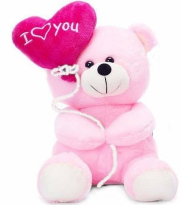 Deals India I Love You Balloon Heart Teddy Pink 20 cm   20 cm Pink Deals India Soft Toys