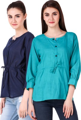 Fit N Fine Casual Cuffed Sleeve Self Design, Solid Women Multicolor Top