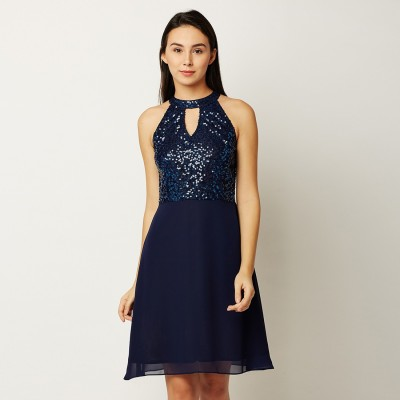 Miss Chase Women Fit and Flare Blue Dress
