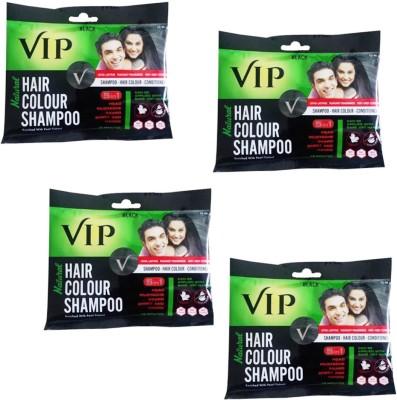 VIP Hair Colour Shampoo (Pack of 4) Hair Color(Black)
