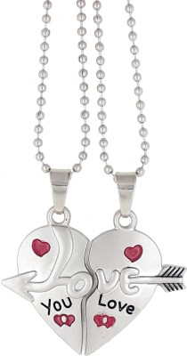 Saizen Couple Special CHP27 Silver plated Dual Love Heart Pendant Chain for Girls & Boys Rhodium Stainless Steel Pendant