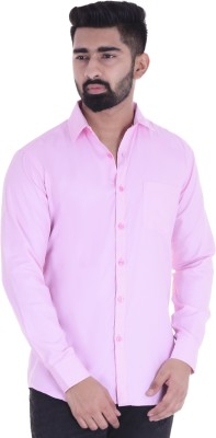 BEST BRAND Men Solid Casual Pink Shirt
