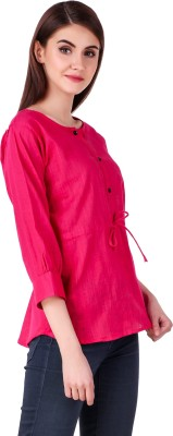 Fit N Fine Casual Cuffed Sleeve Solid Women Pink Top