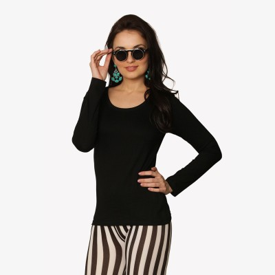 Miss Chase Casual Full Sleeve Solid Women Black Top