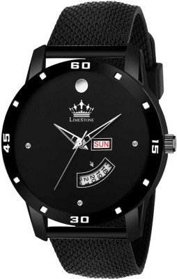 LimeStone LS2804 All Black Mesh Strap Day and Date Functioning Quartz Analog...