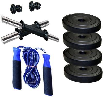 StepInnStore BEST QUALITY 2.5kg (4Pcs) PVC PLATES+DUMBBELL ROD+FOAM HAND SKIPPING ROPE Gym & Fitness Kit