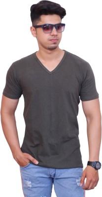 FARICON Solid Men V Neck Green T-Shirt
