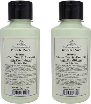 Khadi Pure Herbal Green Tea & Aloevera Hair Conditioner (PACK OF 2)(420 ml)