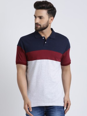 The Dry State Striped Men Polo Neck Multicolor T-Shirt