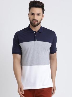 The Dry State Striped Men Polo Neck Dark Blue, Grey, White T-Shirt