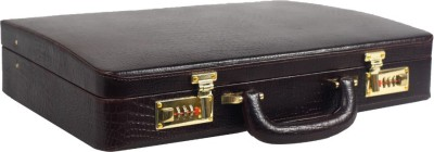 Stones Bridge Croco Leather Overnight Briefcase Medium Briefcase - For Men & Women(Brown)