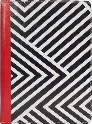 Emartbuy Wallet Case Cover for Samsung Galaxy Tab S2 9.7 Wi-Fi SM-T813(Black/Red Stripes, Grip Case)
