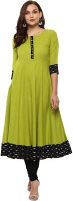 Yash Gallery Women Printed Anarkali Kurta(Light Green)