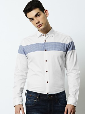 Mr Bowerbird Men Solid Casual White Shirt at flipkart