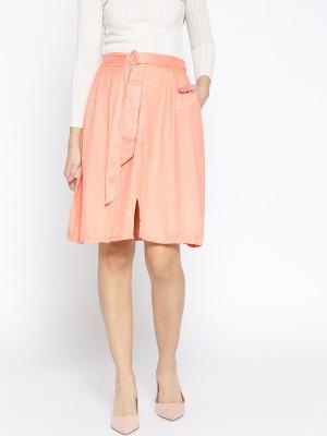 Dressberry Solid Women A line Pink Skirt