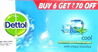 Dettol Epic Combo Bathing Bar Soap, Cool 125 g (Pack of 6)(6 x 125 g)