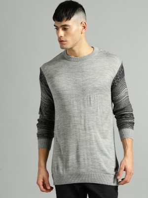 Roadster Solid Round Neck Casual Men Grey Sweater at flipkart
